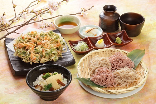 二味そば春かき揚げと竹の子ご飯セット
